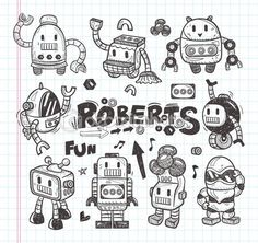 Set of doodle robot icons, illustrator line tools drawin