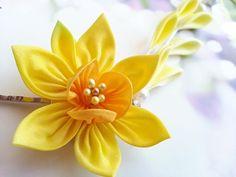 Sisters Silk Daffodil Flower Hair Pins Japanese by MizuSGarden