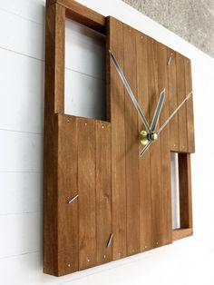 Praf IV square 22x22cm 9x9 clock silent wooden wall by Paladim