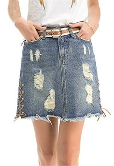Womens Classic Retro High Waist Ripped Holes Burr Side Lacing Cross Denim Aline Skirt -- Want additional info? Click on the image-affiliate link.
