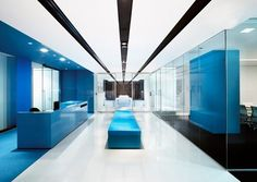 blue and white reception area in an office