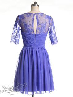 purple lace short bridesmaid dress DVW0019