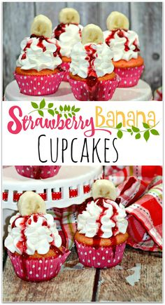 Aren't these strawberry banana cupcakes pretty? They would make a beautiful centerpiece at a Valentine's Day party! When I'm asked to bring food to a school party or a friend's get together, I tend to go with a dessert, and cupcakes are such an easy recip Cupcake Flavors, Cupcake Recipes, Cupcake Cakes, Dessert Recipes, Picnic Recipes, Cupcake Toppers, Baking Recipes, Köstliche Desserts, Delicious Desserts