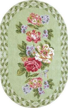 French Country Victorian Shabby Chic ~ oval dollhouse miniature floral print rug 1:12