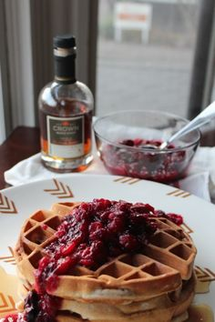 Apple Cider Waffles with Maple Cranberry Compote  http://sweetstacks.com/apple-cider-waffles-maple-cranberry-compote/