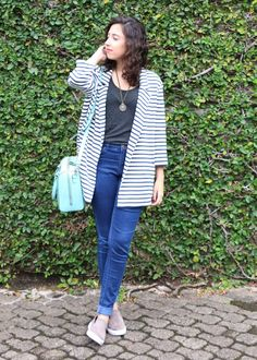Look do dia - moda, casual, street style, outono, listras, oversized