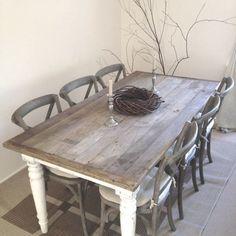 6 Seats Dark Brown Shabby Chic Kitchen Table Set