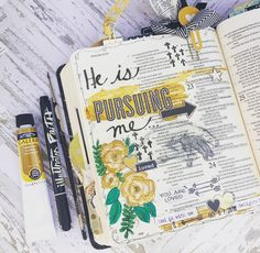 Bible Journaling. He is Pursuing us... Laura McCollough blog - Happy Monday... — A Kiss on the Chic