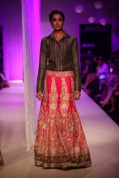 Lakme Winter 2013 Manish Malhotra grey silk shirt with pink lehenga