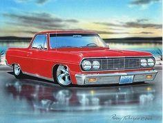 1964 Chevelle El Camino Classic Car Art Print Red 11x14 Poster