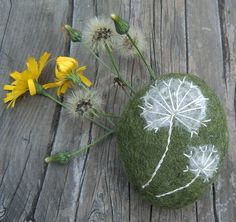 Felted Pebble Ornament Paperweight Hand Embroidered by mbarts, £9.00