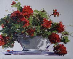 Afternoon Geraniums by Sandy Strohschein Acrylic ~ 16 x 20