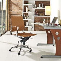Vibe Mid Back Leather Office Chair, Tan - Instill some panache to your office with a chair that says it all. Vibe's modern style reverberates from start to finish. From its diamond patterned leather seat and back, to its high polished chrome frame, if ever there was a chair that turned seating into an artform it would be Vibe.   Conveniently adjust your seating position with an easy to use seat tilt lever.The five-star hooded chrome base comes fitted with casters appropriate for any floor…