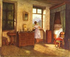 """""""Early Morning Moritz von Schwind - circa 1860 Neue Pinakothek - Munich (Germany) Painting - oil on canvas Height: cm in.) Image via the Athenaeum"""" Moritz Von Schwind, Wall Art Prints, Poster Prints, Looking Out The Window, Open Window, Window View, Through The Window, Illustrations, Room Paint"""