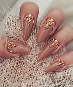 Nude tan gold coffin nails