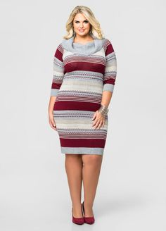 2261fc6d22e Multi Stripe Cowl Neck Sweater Dress. Multi Stripe Cowl Neck Sweater Dress-Plus  Size Dresses-Ashley Stewart