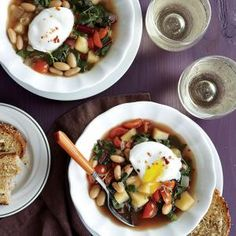 Cooking Light December 2014, Page 60   Swiss Chard and White Bean Soup with Poached Eggs    MyRecipes.com