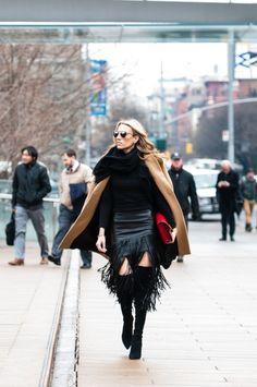 Latest Fashion Week Street style. Fringed leather at New York Fashion Week Fall 2015 #nyfw2015