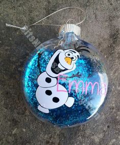 2014 Christmas Frozen Olaf personalized glass floating ornament filled with blue glitter - hanging ornament #2014 #Christmas