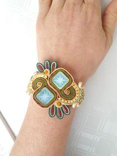 SPRING soutache bracelet Soutache Bracelet, Soutache Jewelry, Shibori, Ribbon, Etsy, Beads, Beautiful, Fashion, Slippers