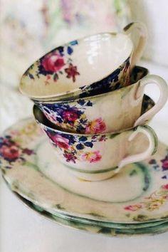 vintage tea cups and high tea Vintage China, Vintage Dishes, Vintage Teacups, Vintage Floral, Vintage Plates, Vintage Colors, Tea Cup Saucer, Tea Cups, Coffee Cups