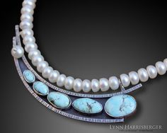 """""""Falling Water"""" Natural Blue Moon Turquoise & Freshwater Pearl Necklace.  