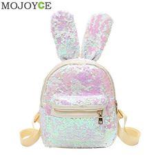 Mini Sequins Backpack Cute Rabbit Ears Shoulder Bag For Women Girls Travel  Bag Bling Shiny Backpack e373a1bd63