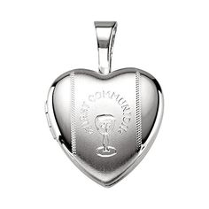 925 Sterling Silver My First Holy Communion Heart Locket Pendant ** Want to know more, click on the image.