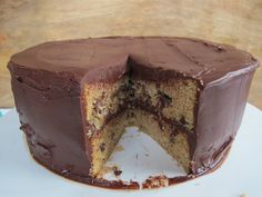 brown sugar chocolate chip cake with chocolate ganache: add 1/2 cup mini chocolate chips to top