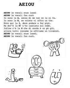 le vocali Italian Lessons, Italian Language, Idioms, Words, School, Alphabet, Winter Time, Musica, Schools
