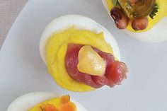 The Bluegrass Special (Kentucky) - Tailgate Deviled Eggs - Southernliving. Thinly sliced country ham and a spot of Dijon mustard.
