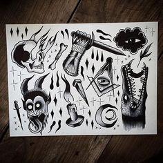 Afbeeldingsresultaat voor black and grey traditional tattoo flash