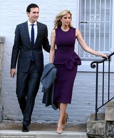 Ivanka Trump and husband Jared Kushner braved the chilly weather when they took time out of their busy schedules on Saturday morning to go jogging together around Washington D. Pencil Dress Outfit, Women In China, Ivanka Trump Style, Suit Accessories, Vintage Inspired Dresses, Business Outfits, Hollywood Celebrities, Ladies Day, African Fashion