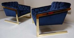 Pair of Brass & Velvet Tufted Lounge Chairs after Milo Baughman | From a unique collection of antique and modern lounge chairs at http://www.1stdibs.com/furniture/seating/lounge-chairs/
