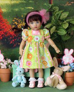 Easter/Spring Dots & Flower Dress for Riley Kish