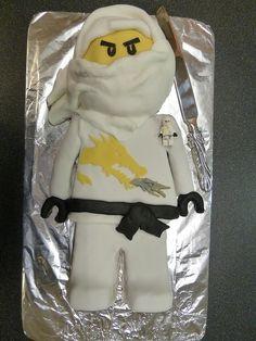 "Dan's 7th Birthday Cake - Lego Ninjago Cake ""Zane"" by archers30 - ""thanks for all the fish"", via Flickr"