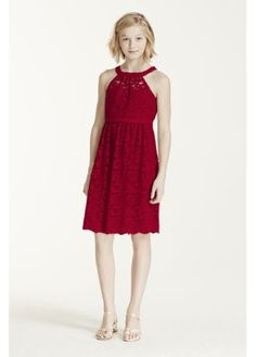 Sleeveless Lace Halter Dress with Back Tie WJB0344