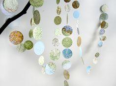 Girlanden & Wimpelketten - Weltreise Girlande aus Landkarte, Atlas - ein Designerstück von renna-deluxe bei DaWanda