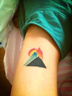 http://tattoo-ideas.us/wp-content/uploads/2014/03/Mountain-Tattoo.jpg Mountain Tattoo #Armtattoos, #Colourfultattoos, #Minimalistic