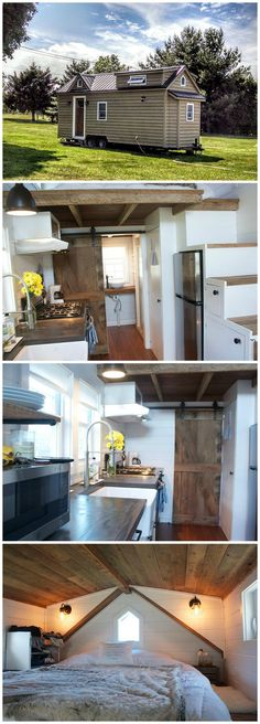 Modern Farmhouse is a gorgeous tiny house built by Liberation Tiny Homes.  The house was built on a 24′ trailer and uses reclaimed wood throughout. On the exterior you'll find cedar siding, Anderson windows, and a corrugated metal roof. Inside, there are bead board walls, a custom-built barn door to the bathroom, and bamboo flooring.  The bedroom loft has double dormers, allowing for extra headroom.