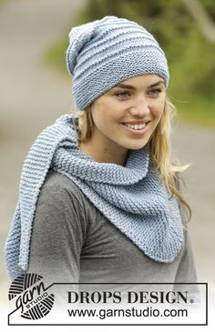 Drops 172-28, Knitted hat and scarf in garter stitch in Big Merino