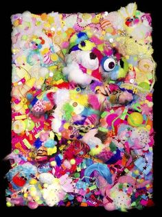 """Available at auction to benefit the Japan Society: Sebastian Masuda's """"Colorful Rebellion - BEAR"""" (Mixed media on B1 panel, 40.5 x 28.625 in) Check out Paddle 8 for more info. Estimated at $3,000."""
