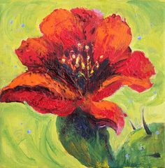 Red Flower Contemporary Floral Paintings in Acrylic on Canvas by Arizona Artist Amy Whitehouse