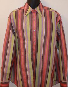 Robert Graham Multi-Color LS Flip Cuff Striped Dress Shirt Size XL #RobertGraham
