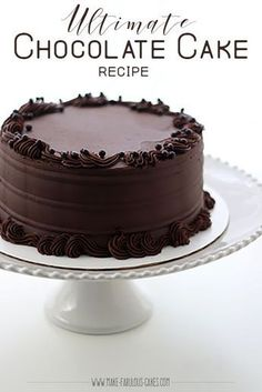 The Ultimate Chocolate Cake Recipe Learn how to make an easy but fabulous, chocolate cake recipe. - Decadent Ultimate Chocolate Cake Recipe by Make Fabulous Cakes Ultimate Chocolate Cake, Homemade Chocolate, Chocolate Desserts, Simple Chocolate Cake, Easy Chocolate Cake Recipe, Chocolate Chiffon Cake, Chocolate Cake From Scratch, Chocolate Frosting Recipes, Decadent Chocolate Cake