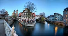 One of southwest Germany's many half-timbered towns, Esslingen secured its position as a major trading center by building two bridges over the Neckar River, Medieval Market, Stuttgart Germany, Travel Dating, Vacation Packages, What A Wonderful World, Trees To Plant, Old Town, Wonders Of The World, Day Trips