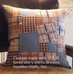 23 Trendy sewing gifts for dad old shirts Memory Pillow From Shirt, Memory Pillows, Memory Quilts, Old Shirts, Dad To Be Shirts, Shirt Quilt, Shirt Pillows, Memory Crafts, Sewing Room Organization