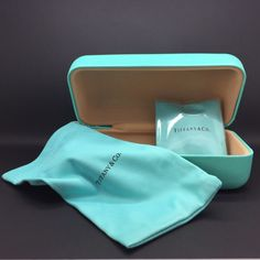 Tiffany & Co Eyeglass Sunglass LARGE Clamshell Case ONLY w/Soft Pouch and Cloth   eBay