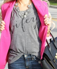 I adore this look! I love a t-shirt and blazer combo, and the hot pink is awesome! Perfect!
