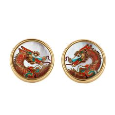 Reverse Carved Rock Crystal and Mother-of-Pearl Dragon Cufflinks | From a unique collection of vintage cufflinks at http://www.1stdibs.com/jewelry/cufflinks/cufflinks/
